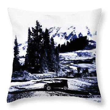 Vintage Mount Rainier With Antique Car Early 1900 Era... Throw Pillow by Eddie Eastwood