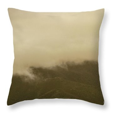 Vintage Mountains Covered By Cloud Throw Pillow