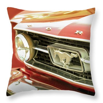 Vintage Mustang Throw Pillow by Caitlyn Grasso