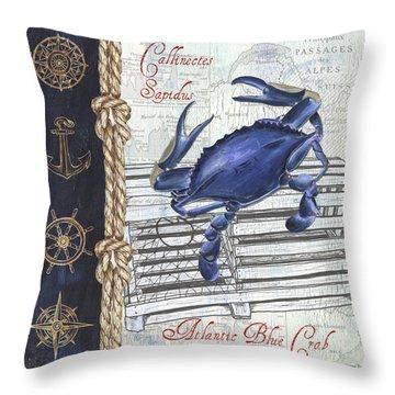 Vintage Nautical Crab Throw Pillow