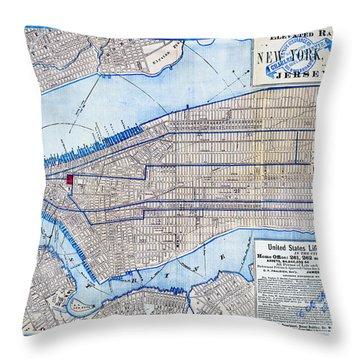 Vintage New York Map Throw Pillow
