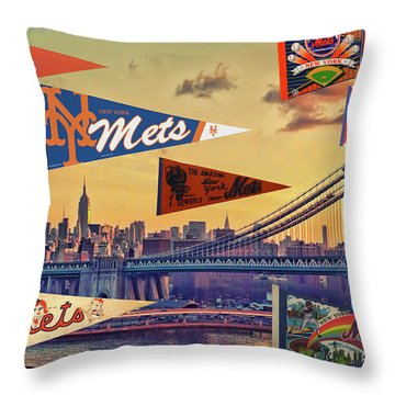 Vintage New York Mets Throw Pillow