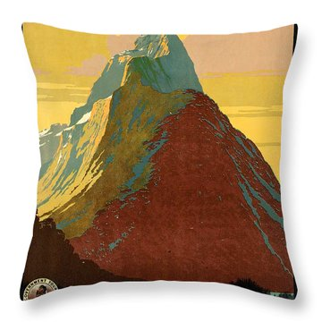 Vintage New Zealand Travel Poster Throw Pillow by George Pedro