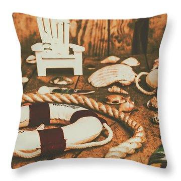 Vintage Ocean Porthole Throw Pillow