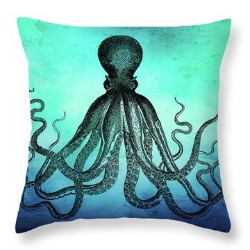 Vintage Octopus On Blue Green Watercolor Throw Pillow