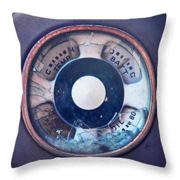 Vintage Oil Indicator Throw Pillow by Priska Wettstein