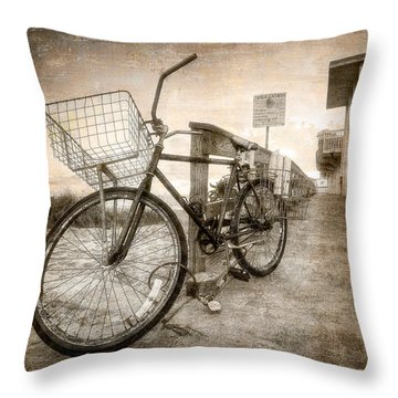 Vintage Ol' Bike Throw Pillow by Debra and Dave Vanderlaan