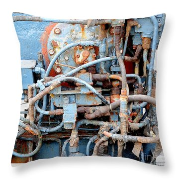 Throw Pillow featuring the photograph Vintage Old Diesel Engine On A Ship by Yali Shi