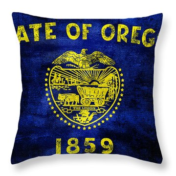 Vintage Oregon Flag Throw Pillow