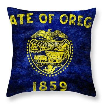 Vintage Oregon Flag Throw Pillow by Jon Neidert