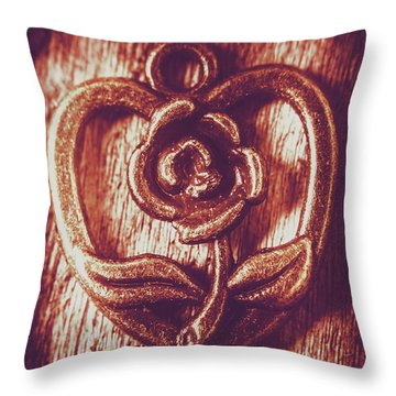 Vintage Ornamental Rose Throw Pillow