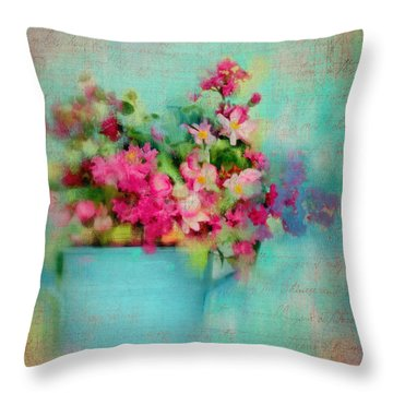 Flowers From A Cottage Garden Throw Pillow