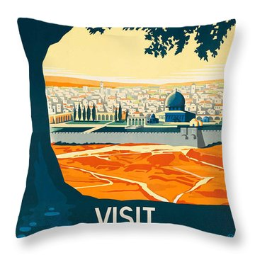 Vintage Palestine Travel Poster Throw Pillow by George Pedro