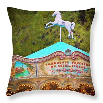 Throw Pillow featuring the photograph Vintage Paris Carousel by Melanie Alexandra Price