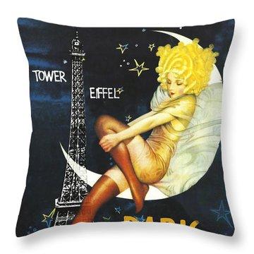 Vintage Paris Moon Throw Pillow