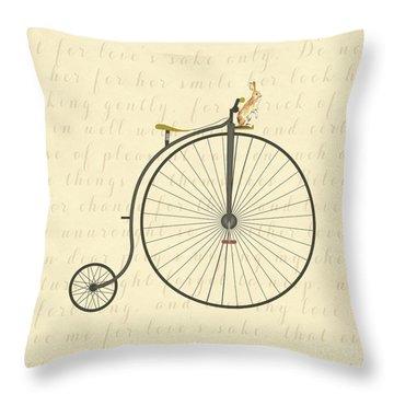 Vintage Penny Farthing Bunny Throw Pillow