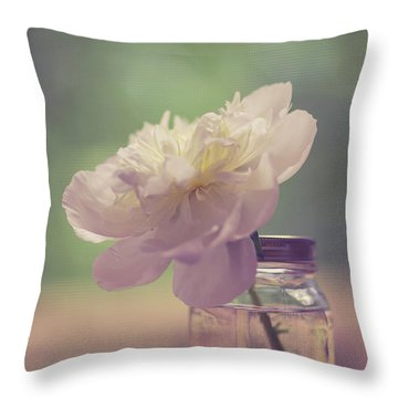 Throw Pillow featuring the photograph Vintage Peony Flower Still Life by Edward Fielding