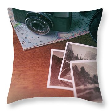 Vintage Photo Camera And Prints Throw Pillow