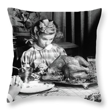 Vintage Photo Depicting Thanksgiving Dinner Throw Pillow