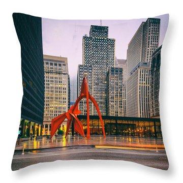 Vintage Photo Of Alexander Calder Flamingo Sculpture Federal Plaza Building - Chicago Illinois  Throw Pillow