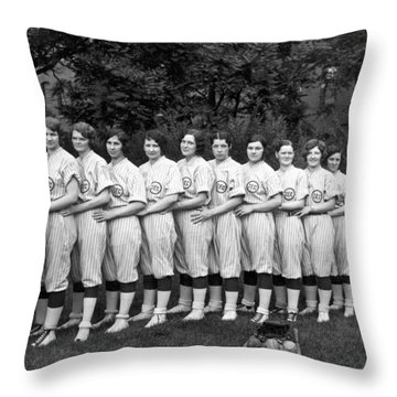Vintage Photo Of Women's Baseball Team Throw Pillow by American School