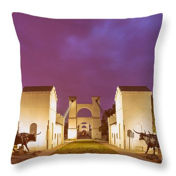 Vintage Photograph Of The Waco Suspension Bridge And Chisholm Trail At Dawn - Downtown Waco - Texas Throw Pillow