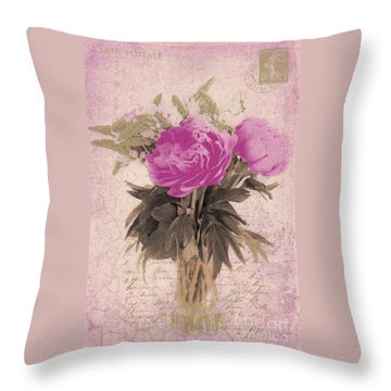 Vintage Pink Peonies Throw Pillow by Karen Lewis