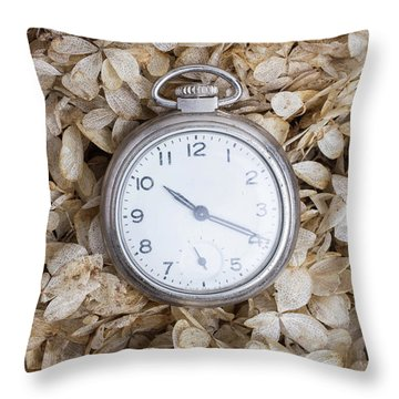 Throw Pillow featuring the photograph Vintage Pocket Watch Over Dried Flowers by Edward Fielding