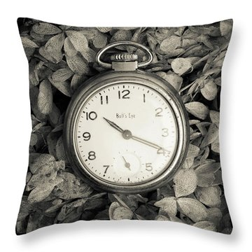 Vintage Pocket Watch Over Flowers Throw Pillow by Edward Fielding