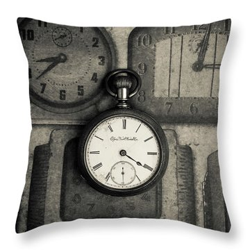 Throw Pillow featuring the photograph Vintage Pocket Watch Over Old Clocks by Edward Fielding