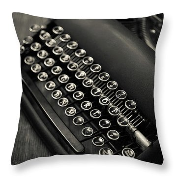 Throw Pillow featuring the photograph Vintage Portable Typewriter by Edward Fielding