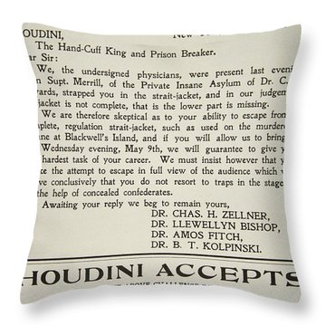 Vintage Poster Advertising A Performance By Houdini At The American Theatre, May 1906  Throw Pillow