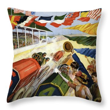 Vintage Poster Advertising The Indianapolis Motor Speedway Throw Pillow