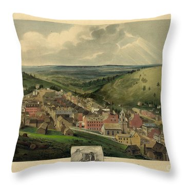 Throw Pillow featuring the photograph Vintage Pottsville Pennsylvania Etching With Remarque by John Stephens