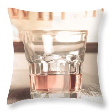 Vintage Pub Whisky On Old Wooden Counter Throw Pillow