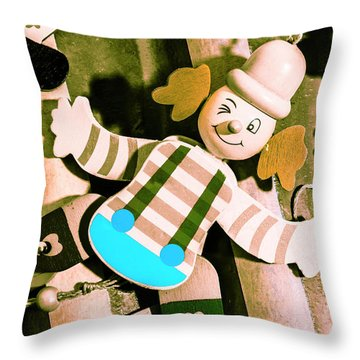 Vintage Pull-string Puppet Carnival Throw Pillow