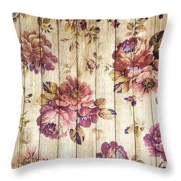 Vintage Purple Shabby Chic Country Roses On Wood Throw Pillow