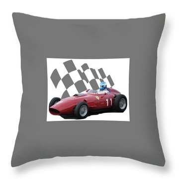 Vintage Racing Car And Flag 2 Throw Pillow by John Colley