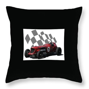 Vintage Racing Car And Flag 3 Throw Pillow by John Colley