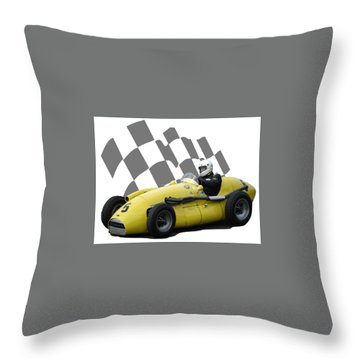 Vintage Racing Car And Flag 4 Throw Pillow by John Colley