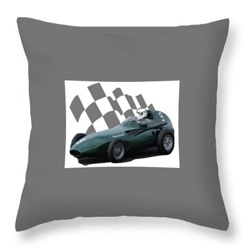Vintage Racing Car And Flag 5 Throw Pillow by John Colley
