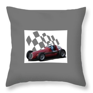 Vintage Racing Car And Flag 6 Throw Pillow by John Colley
