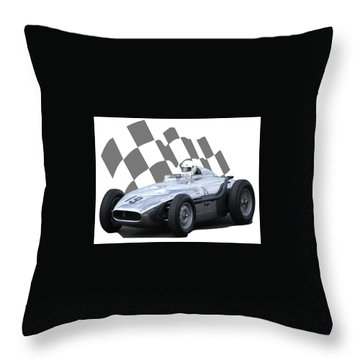 Vintage Racing Car And Flag 7 Throw Pillow by John Colley