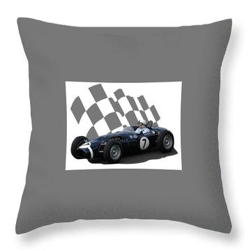 Vintage Racing Car And Flag 8 Throw Pillow by John Colley