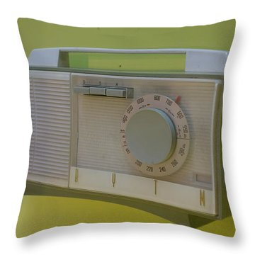 Vintage Radio With Lime Green Background Throw Pillow