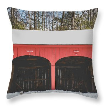 Throw Pillow featuring the photograph Vintage Red Carriage Barn Lyme by Edward Fielding