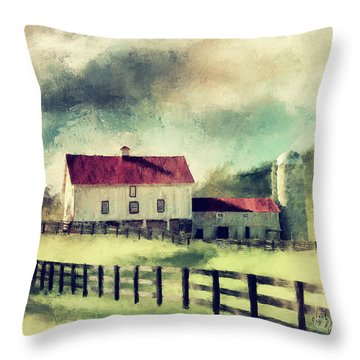 Throw Pillow featuring the digital art Vintage Red Roof Barn by Lois Bryan
