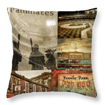 Vintage Red Sox Fenway Park Baseball Collage Throw Pillow