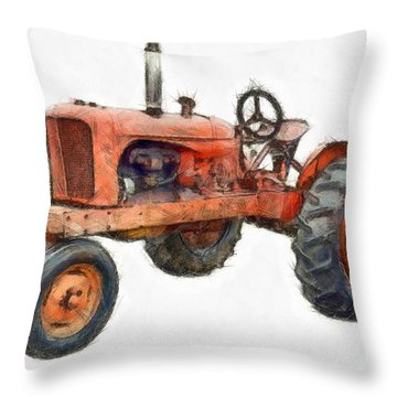 Vintage Red Tractor Pencil Throw Pillow