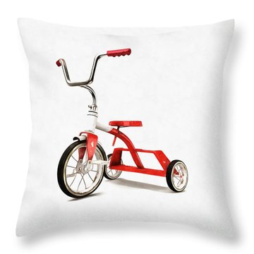 Throw Pillow featuring the digital art Vintage Red Tricycle by Edward Fielding